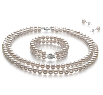 6-7mm A-Qualität Süßwasser Perlen Set in Juliane Weiß