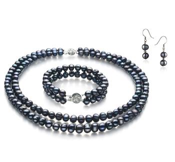 PearlsOnly - Set mit schwarzer, 6-7mm großer Süßwasserperle in A-Qualität , Julika