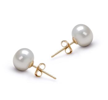 PearlsOnly - Paar Ohrringe mit weißen, 7-8mm großen Süßwasserperlen in AAA-Qualität , Karima