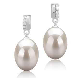 9-10mm AAA-Qualität Süßwasser Paar Ohrringe in Karley Weiß