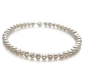 Halskette mit weißen, 8-9mm großen Süßwasserperlen in A-Qualität , Kathleen