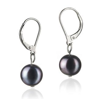 Paar Ohrringe mit schwarzen, 8-9mm großen Süßwasserperlen in A-Qualität , Kathleen