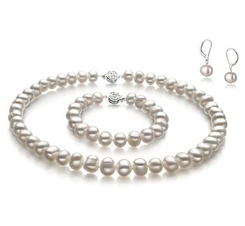 8-9mm A-Qualität Süßwasser Perlen Set in Kathleen Weiß