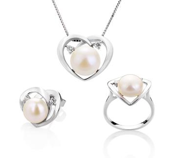 7-10mm AA-Qualität Süßwasser Perlen Set in Katie Heart Weiß