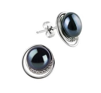 9-10mm AA-Qualität Süßwasser Paar Ohrringe in Kelly Schwarz