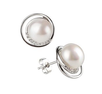 Paar Ohrringe mit weißen, 9-10mm großen Süßwasserperlen in AA-Qualität , Kelly