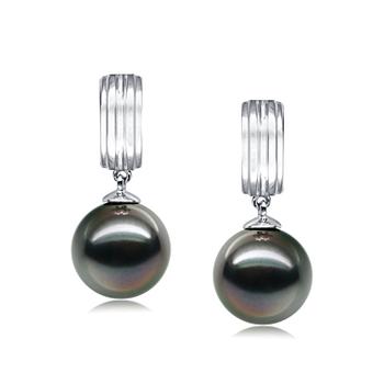 Paar Ohrringe mit schwarzen, 9-10mm großen Tihitianischen Perlen in AAA-Qualität , Kiyam