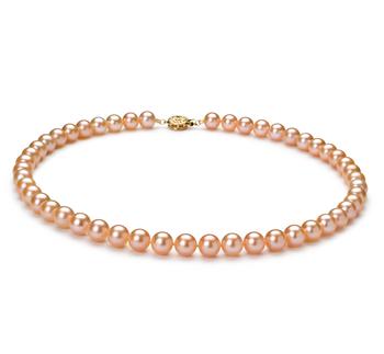 PearlsOnly - Halskette mit rosafarbenen, 7-8mm großen Süßwasserperlen in AAAA-Qualität , Latisha