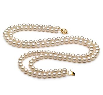 Halskette mit weißen, 6-7mm großen Süßwasserperlen in AA-Qualität , Liah