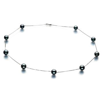 Halskette mit schwarzen, 7-8mm großen Janischen Akoya Perlen in AAA-Qualität , Lilly