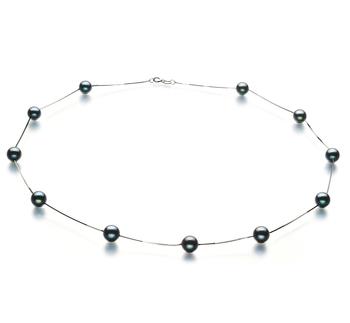 PearlsOnly - Halskette mit schwarzen, 6-7mm großen Janischen Akoya Perlen in AA-Qualität , Lilly
