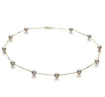 Halskette mit weißen, 6-7mm großen Janischen Akoya Perlen in AA-Qualität , Lilly