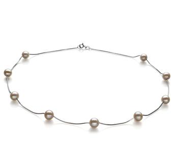 Halskette mit weißen, 7-8mm großen Süßwasserperlen in AA-Qualität , Lilly