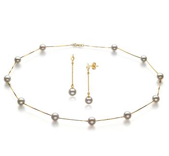 6-7mm AA-Qualität Japanische Akoya Perlen Set in Lilly Weiß