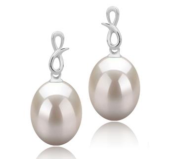 9-10mm AAA-Qualität Süßwasser Paar Ohrringe in Lucille Weiß