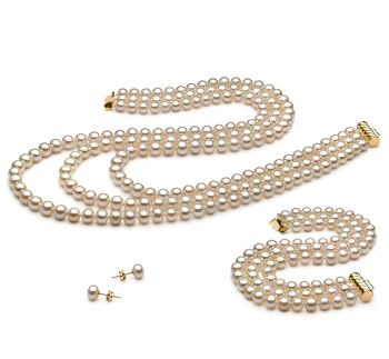 6-7mm AA-Qualität Süßwasser Perlen Set in Lucille Weiß