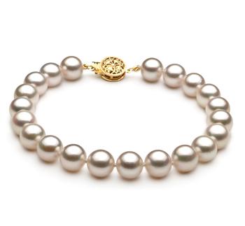 Armreifen mit weißen, 7.5-8mm großen Janischen Akoya Perlen in AA-Qualität , Malisa