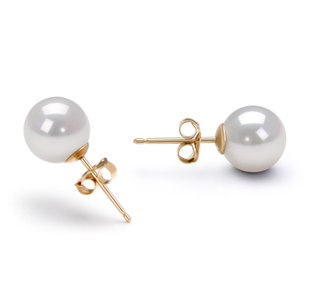 Paar Ohrringe mit weißen, 7.5-8mm großen Janischen Akoya Perlen in AA-Qualität , Manja