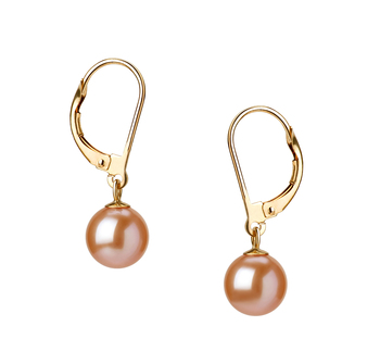 PearlsOnly - Paar Ohrringe mit rosafarbenen, 7-8mm großen Süßwasserperlen in AAAA-Qualität , Marcella