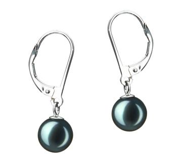 PearlsOnly - Paar Ohrringe mit schwarzen, 7-8mm großen Janischen Akoya Perlen in , Marcella