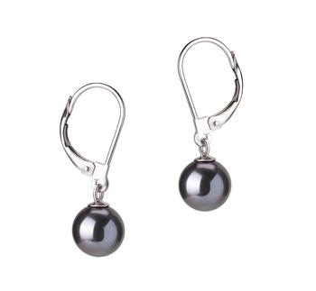 Paar Ohrringe mit schwarzen, 7-8mm großen Süßwasserperlen in AAAA-Qualität , Marcella
