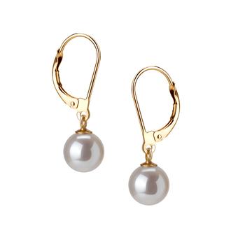 Paar Ohrringe mit weißen, 7-8mm großen Süßwasserperlen in AAAA-Qualität , Marcella