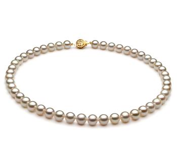 PearlsOnly - Halskette mit weißen, 7-7.5mm großen Janischen Akoya Perlen in AA-Qualität , Marisa