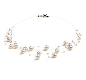 Halskette mit weißen, 3-9mm großen Süßwasserperlen in A-Qualität , Mary