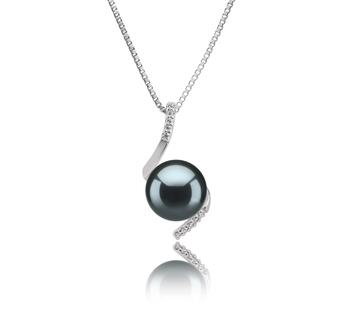 Anhänger mit schwarzen, 9-10mm großen Tihitianischen Perlen in AAA-Qualität , Mathilde