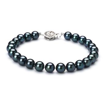 Armreifen mit schwarzen, 6.5-7mm großen Janischen Akoya Perlen in AAA-Qualität , Melanie