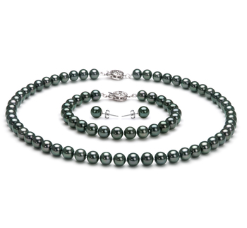 6.5-7mm AAA-Qualität Japanische Akoya Perlen Set in Mercedes Schwarz