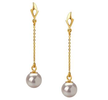 Paar Ohrringe mit weißen, 6-7mm großen Janischen Akoya Perlen in AA-Qualität , Michelle