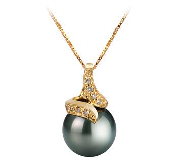 Anhänger mit schwarzen, 12.5-13mm großen Tihitianischen Perlen in AAA-Qualität , Mina