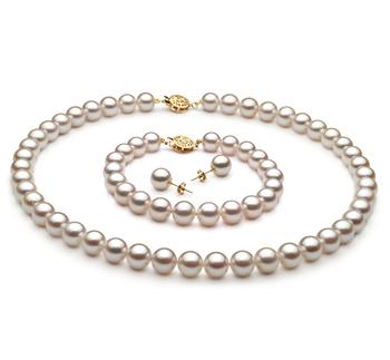 8-9mm AA-Qualität Japanische Akoya Perlen Set in Mina Weiß