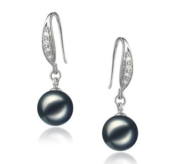 Paar Ohrringe mit schwarzen, 8-9mm großen Janischen Akoya Perlen in AA-Qualität , Miriam