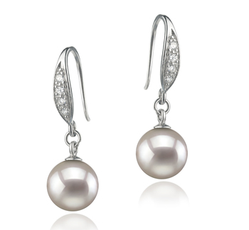 Paar Ohrringe mit weißen, 8-9mm großen Janischen Akoya Perlen in AA-Qualität , Miriam
