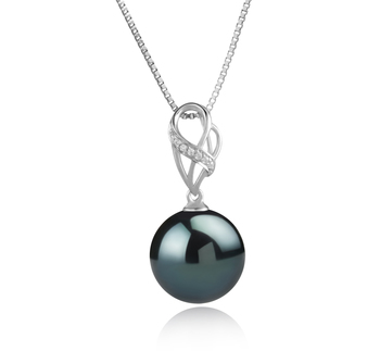 Anhänger mit schwarzen, 11-12mm großen Tihitianischen Perlen in AAA-Qualität , Moira