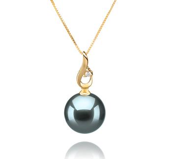 Anhänger mit schwarzen, 10-11mm großen Tihitianischen Perlen in AAA-Qualität , Monica