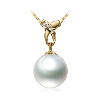 10-11mm AAA-Qualität Südsee Perlenanhänger in Monica Weiß