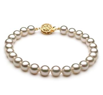 Armreifen mit weißen, 6.5-7mm großen Janischen Akoya Perlen in AAA-Qualität , Neeltje