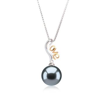 Anhänger mit schwarzen, 10-10.5mm großen Tihitianischen Perlen in AAA-Qualität , Nelia