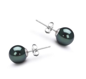PearlsOnly - Paar Ohrringe mit schwarzen, 7-8mm großen Janischen Akoya Perlen in AA-Qualität , Nelly
