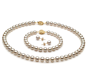 6.5-7mm AAA-Qualität Japanische Akoya Perlen Set in Noelia Weiß