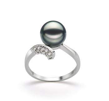 Ring mit schwarzen, 8-9mm großen Janischen Akoya Perlen in AA-Qualität , Olivia