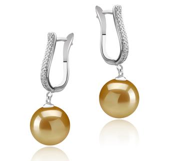 Paar Ohrringe mit goldfarbenen, 10-11mm großen Südseeperlen in AAA-Qualität , Ophelia