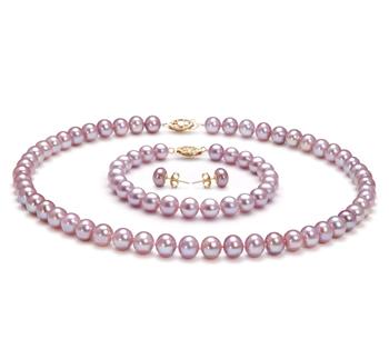 7-8mm AA-Qualität Süßwasser Perlen Set in Ophelia Lavendel