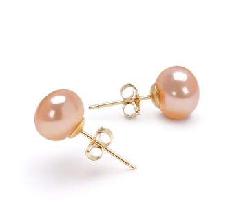 Paar Ohrringe mit rosafarbenen, 7-8mm großen Süßwasserperlen in AAA-Qualität , Pamela