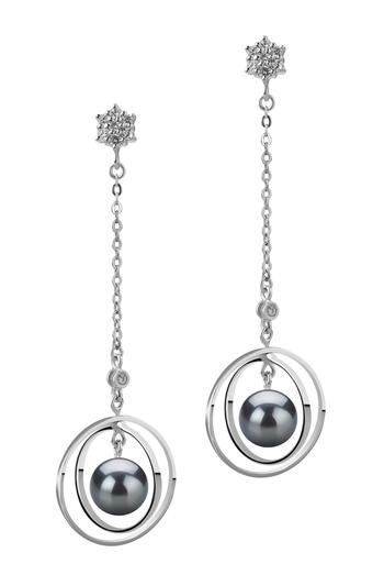 6-7mm AA-Qualität Japanische Akoya Paar Ohrringe in Paula Schwarz