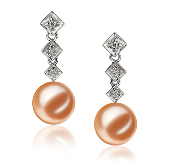 PearlsOnly - Paar Ohrringe mit rosafarbenen, 9-10mm großen Süßwasserperlen in AAAA-Qualität , Paulina