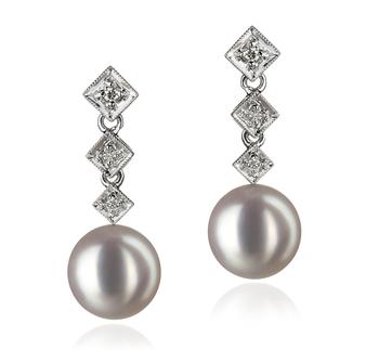 Paar Ohrringe mit weißen, 8-9mm großen Janischen Akoya Perlen in AAA-Qualität , Paulina